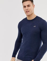 Hollister Lightweight Muscle Fit Crew Neck Knit Jumper In Navy Marl