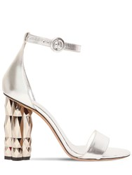 Salvatore Ferragamo 105Mm Azalea Metallic Leather Sandals Silver