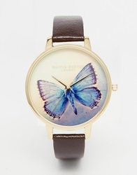 Olivia Burton Big Dial Woodland Butterfly Watch Chocolate
