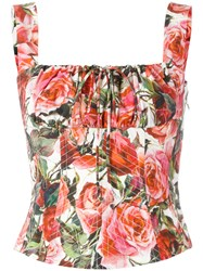Dolce And Gabbana Rose Print Bodice Red
