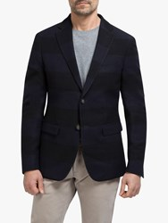 Eden Park Wool Check Slim Fit Blazer Navy