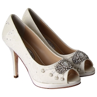 Rainbow Club Devotion Leather Peep Toe Court Heels Ivory