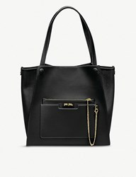Folli Follie On The Go Textured Faux Leather Tote Bag Black