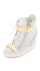 Giuseppe Zanotti Embossed Lorenz Wedge Sneakers White