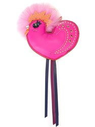 Mcm Embellished Bird Keyring Pink Purple