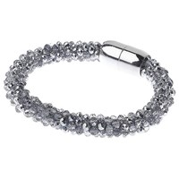 Adele Marie Faceted Glass Bead Rope Bracelet Silver