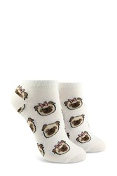 Forever 21 Bow Tie Pug Print Ankle Socks White Multi