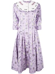 Olympia Le Tan Pleated Dress Women Polyester 36 Pink Purple
