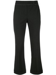 Brunello Cucinelli Flared Cropped Trousers Grey