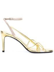 Saint Laurent Strappy Metallic Sandals Yellow And Orange