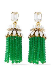 Elizabeth Cole Woman 24 Karat Gold Plated Crystal And Bead Tassel Earrings Green