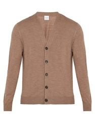 Paul Smith Long Sleeved Fine Knit Wool Cardigan Beige