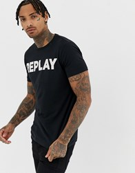 Replay Bold Logo Crew Neck T Shirt In Black