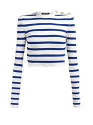 Balmain Striped Cropped Top Blue White