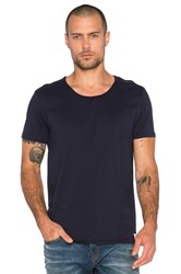 Scotch And Soda Home Alone Short Sleeve Tee With Twisted Seams Navy