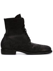Guidi Distressed Lace Up Boots Black