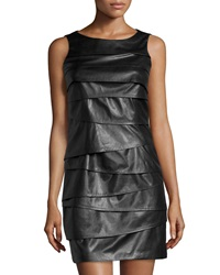 Vakko Sleeveless Faux Leather Combo Dress Black