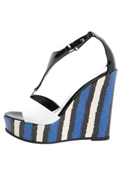 Just Cavalli High Heeled Sandals Blue White Black