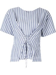 Ports Pure Striped Lace Up Top Blue