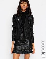 Asos Tall Ultimate Biker Jacket With Piped Detail Black