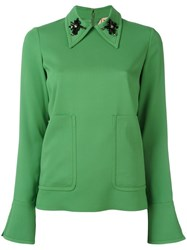 N 21 No21 Embellished Collar Longsleeved Blouse Green