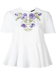 Alexander Mcqueen Floral Embroidered Blouse White