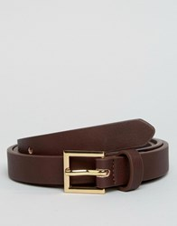 Asos Smart Faux Leather Super Skinny Belt In Brown