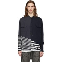 Greg Lauren Navy Paul And Shark Edition Deconstructed Shirt