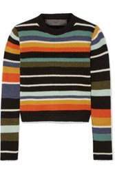 The Elder Statesman Pomona Striped Ribbed Cashmere Sweater Blue
