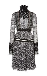 Giambattista Valli Floral Lace Panel Dress Black