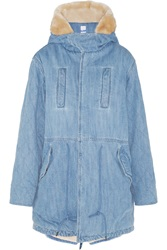 Steve J And Yoni P Hooded Faux Shearling Lined Denim Coat
