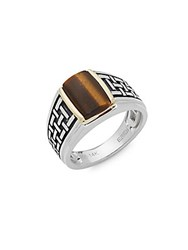 Effy Men's Tiger's Eye Sterling Silver And 14K Yellow Gold Midi Ring
