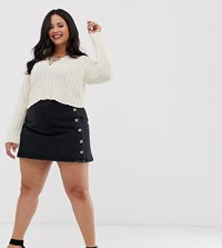 Asos Design Curve Denim Wrap Skirt With Side Buttons In Black