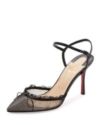 Christian Louboutin Travalata Lace Ankle Strap Red Sole Pump Black
