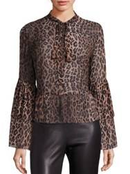 Saks Fifth Avenue Silk Bell Sleeve Leopard Print Blouse