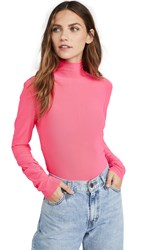 Endless Rose Mesh Turleneck Long Sleeve Tee Neon Pink