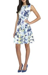 Women's Tahari Floral Scuba Fit And Flare Dress
