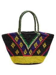 Sensi Studio Tribal Toquilla Straw Tote Black Multi