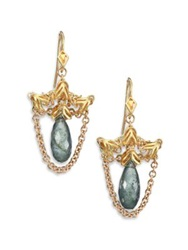 Anthony Camargo Moss Aquamarine And 14K Yellow Gold Draped Draped Drop Earrings Gold Moss