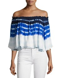 Young Fabulous And Broke Artist Off The Shoulder Top Blue Pattern