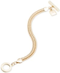 Anne Klein Gold Tone Flat Chain Toggle Bracelet