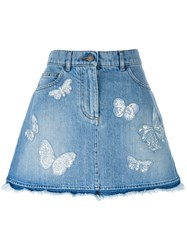 Valentino Butterfly Applique Denim Skirt Blue