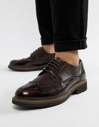 Dune Brogues In Bordo Leather Red