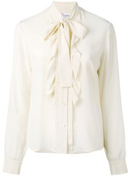 Red Valentino Pussy Bow Blouse Women Silk 42 Nude Neutrals