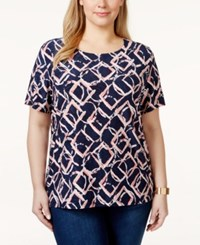 Jm Collection Woman Jm Collection Plus Size Printed Jacquard T Shirt Only At Macy's