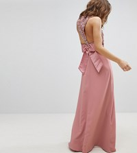 Maya Sleeveless Sequin Bodice Maxi Dress With Cutout And Bow Back Detail Vintage Rose Pink