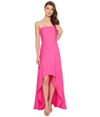 Laundry By Shelli Segal Strapless High Low Crepe Gown Hot Magenta Women's Dress Gray