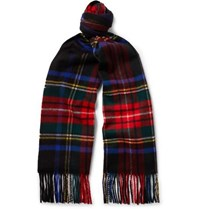 Johnstons Of Elgin Fringed Checked Cashmere Scarf Red