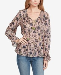 Jessica Simpson Juniors' Printed Peasant Top Dotted Beauty