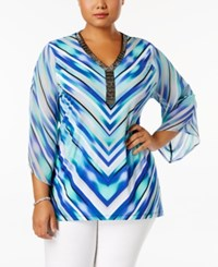 Jm Collection Plus Size Embellished Sheer Sleeve Tunic Only At Macy's Chevron Blur